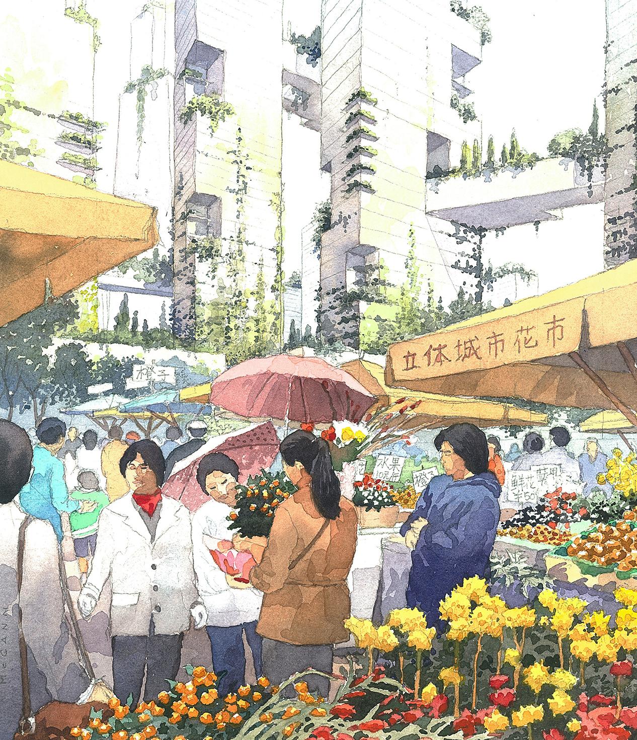 Tianfu Ecological City streetscape sketch 2